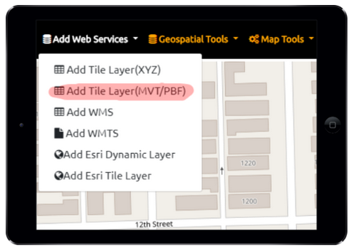 Vector Tile Server URL ( MVT/ PBF) - GeoData Explorer App